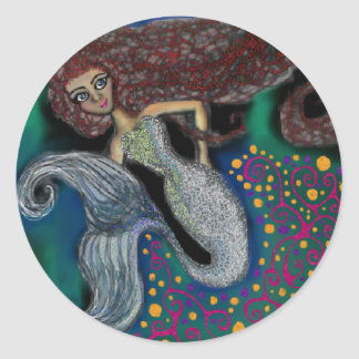 Monday the Mermaid. Round Sticker