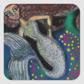 Monday the Mermaid. Square Sticker