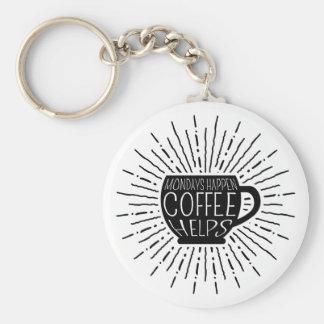 Mondays Happen; Coffee Helps Coffee Keychain
