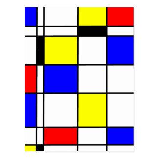 Mondrian art style postcard