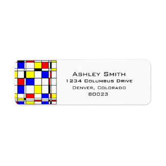 Mondrian art style return address label