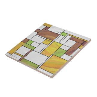 Mondrian Brown Yellow Green Print Small Square Tile