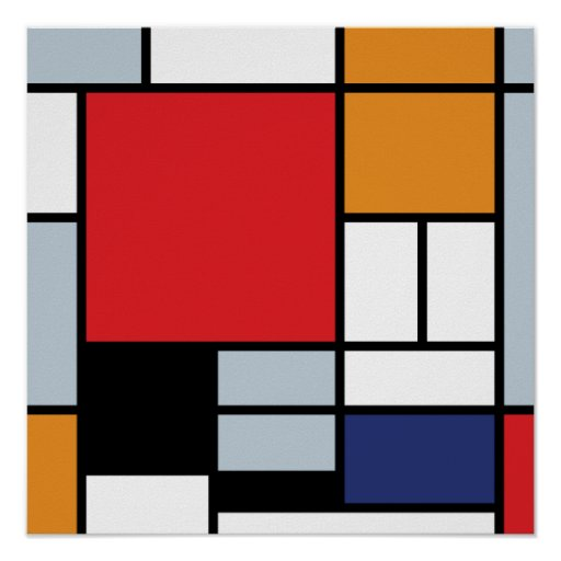 Mondrian - Composition With Large Red Plane Posters