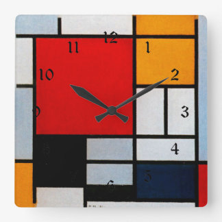 Mondrian - Composition with Large Red Plane Wallclock