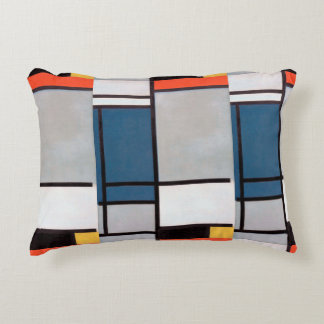 Mondrian Composition with Red, Blue, Black, Yellow Decorative Cushion