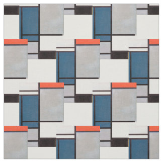 Mondrian Composition with Red, Blue, Black, Yellow Fabric