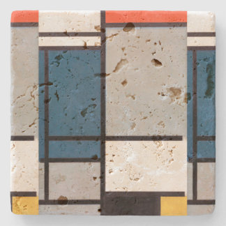 Mondrian Composition with Red, Blue, Black, Yellow Stone Coaster