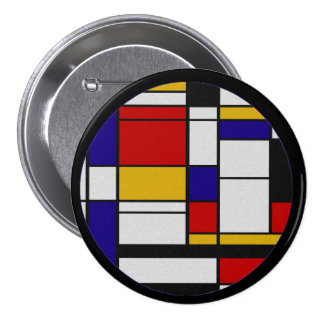 Mondrian De Stijl Pinback Buttons