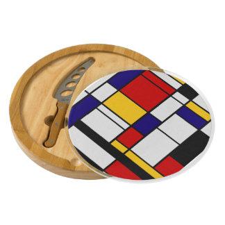 Mondrian De Stijl Round Cheeseboard