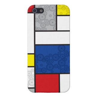 Mondrian De Stijl Modern Art Colors Retro Circles iPhone 5 Covers