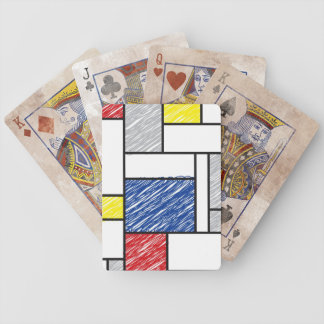 Mondrian De Stijl Scribbles Modern Art Play Cards Bicycle Playing Cards