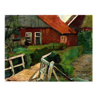 Mondrian - Farm Building with Bridge Postcard