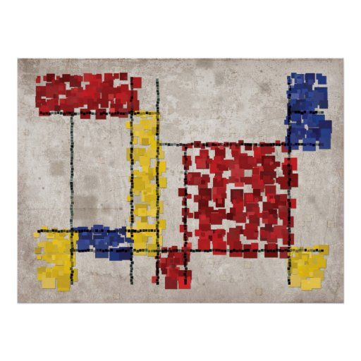 Mondrian Inspired Squares Posters