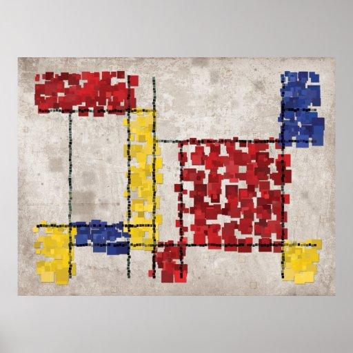 Mondrian Inspired Squares Print
