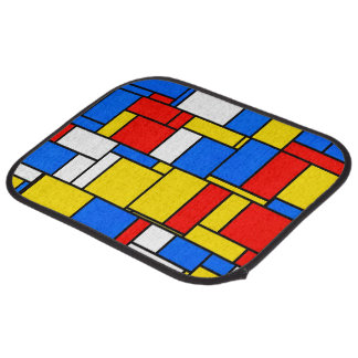 Mondrian Inspired Style Red Blue Yellow Pattern Car Mat