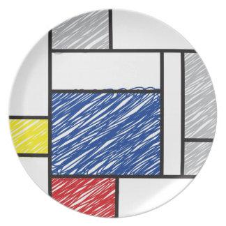 Mondrian Mad Scribbles Minimalism De Stijl Plate