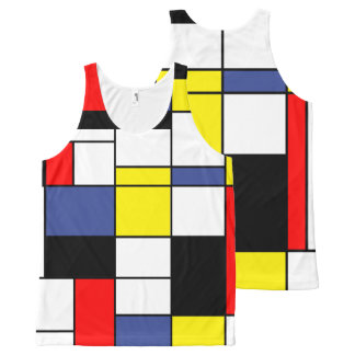 Mondrian, minimalist All-Over print singlet