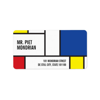 Mondrian Minimalist De Stijl Art Address Labels