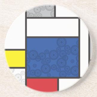 Mondrian Minimalist De Stijl Art Retro Circles Beverage Coasters