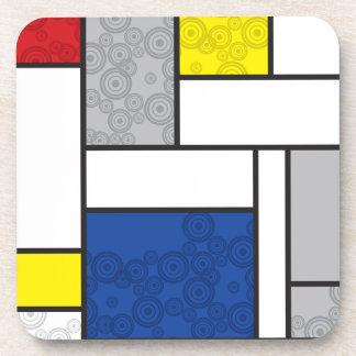 Mondrian Minimalist De Stijl Art Retro Circles Coaster