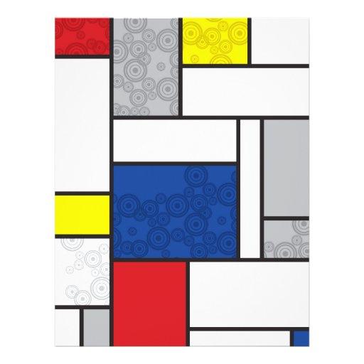 Mondrian Minimalist De Stijl Art Retro Circles Custom Flyer