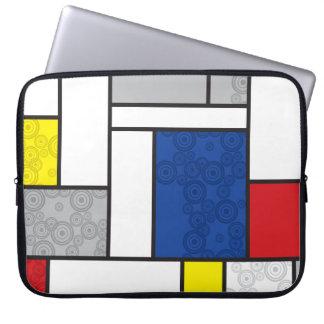 Mondrian Minimalist De Stijl Art Retro Circles Laptop Computer Sleeve