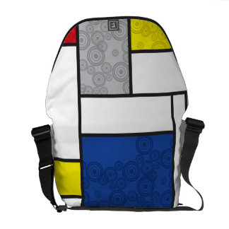 Mondrian Minimalist De Stijl Art Retro Circles Courier Bags