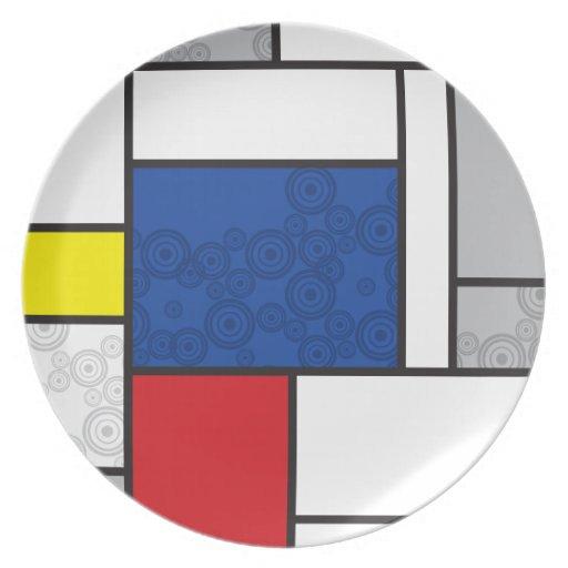 Mondrian Minimalist De Stijl Art Retro Circles Party Plates