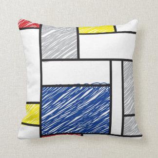 Mondrian Minimalist De Stijl Art Scribbles Pillow