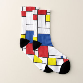 Mondrian Minimalist De Stijl Colorful Modern Art Socks