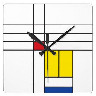 Mondrian Minimalist De Stijl Modern Art  Clock