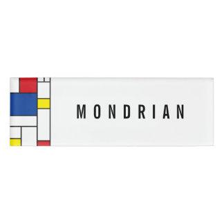 Mondrian Minimalist De Stijl Modern Art Custom Name Tag