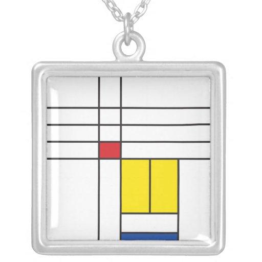 Mondrian Minimalist De Stijl Modern Art Simple Necklaces