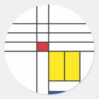 Mondrian Minimalist De Stijl Modern Art Simple Round Stickers