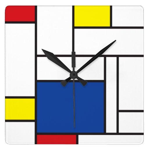 Mondrian Minimalist De Stijl Modern Art  Wall Cloc Clock