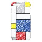 Mondrian Minimalist Scribbles Mod Art iPhone Case