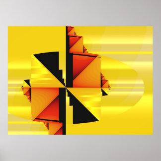 Mondrian Modern Abstract Fractal Art Poster