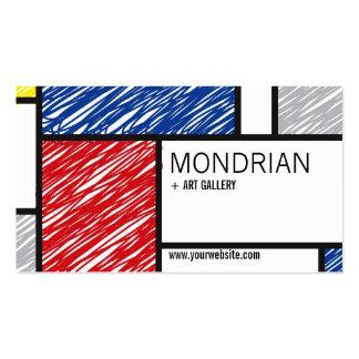 Mondrian Modern Simple Art Minimalist Scribbles Business Card Template