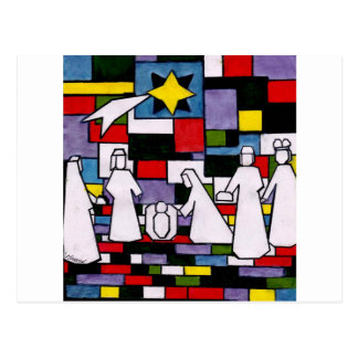 Mondrian Nativity - De Stijl - Neoplasticism Postcard