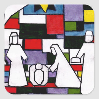Mondrian Nativity - De Stijl - Neoplasticism Square Sticker