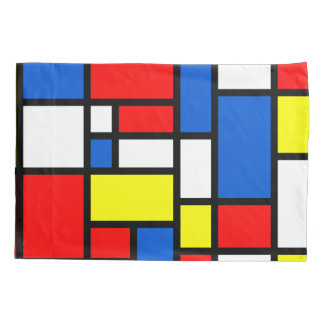 Mondrian Red Blue White and Yellow Pillow Case