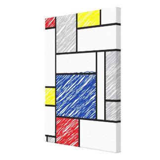 Mondrian Scribbles De Stijl Art Canvas Print