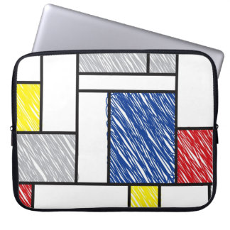 Mondrian Scribbles Minimalism De Stijl Art Laptop Computer Sleeve
