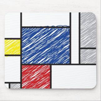 Mondrian Scribbles Minimalism De Stijl Art Mousepad