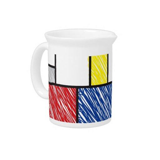 Mondrian Scribbles Minimalism De Stijl Art Pitcher