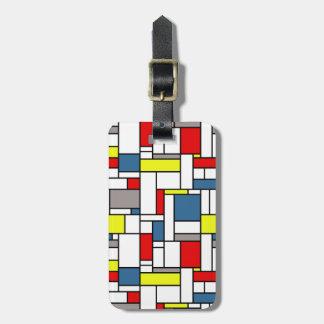 Mondrian style design bag tag