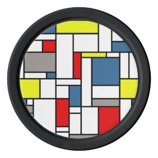 Mondrian style design poker chips