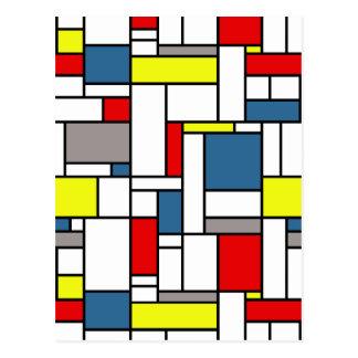 Mondrian style design postcard