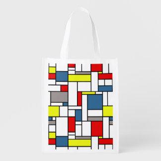 Mondrian style design reusable grocery bag