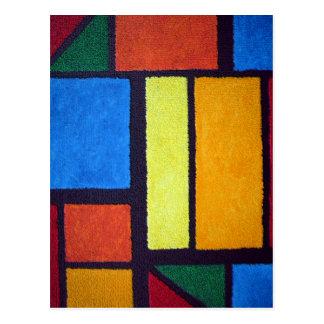 Mondrian Style Orange Green Blue Fuzzy Abstract Postcard